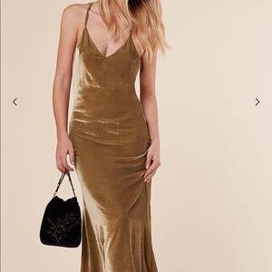 Reformation Velvet Silas Dress in Gold